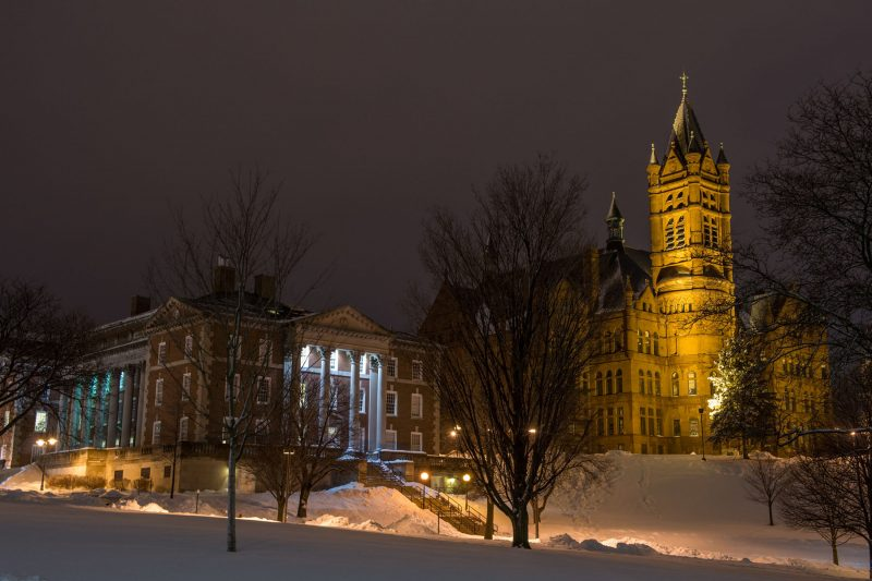 Crouse in winter at night.