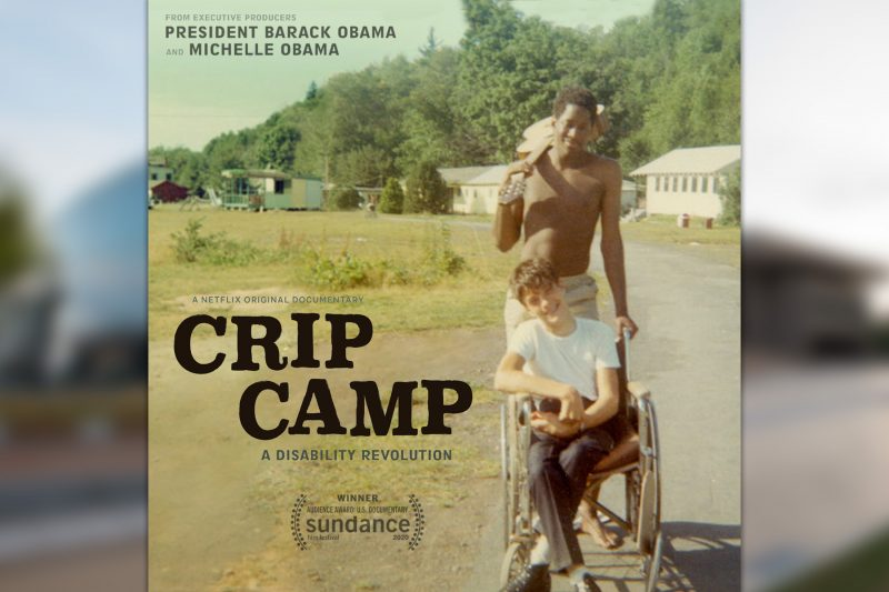 Crip Camp poster, featuring a young Black man pushing a young white man in a wheelchair