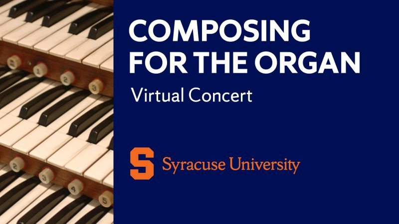 logo including organ console and virtual concert title