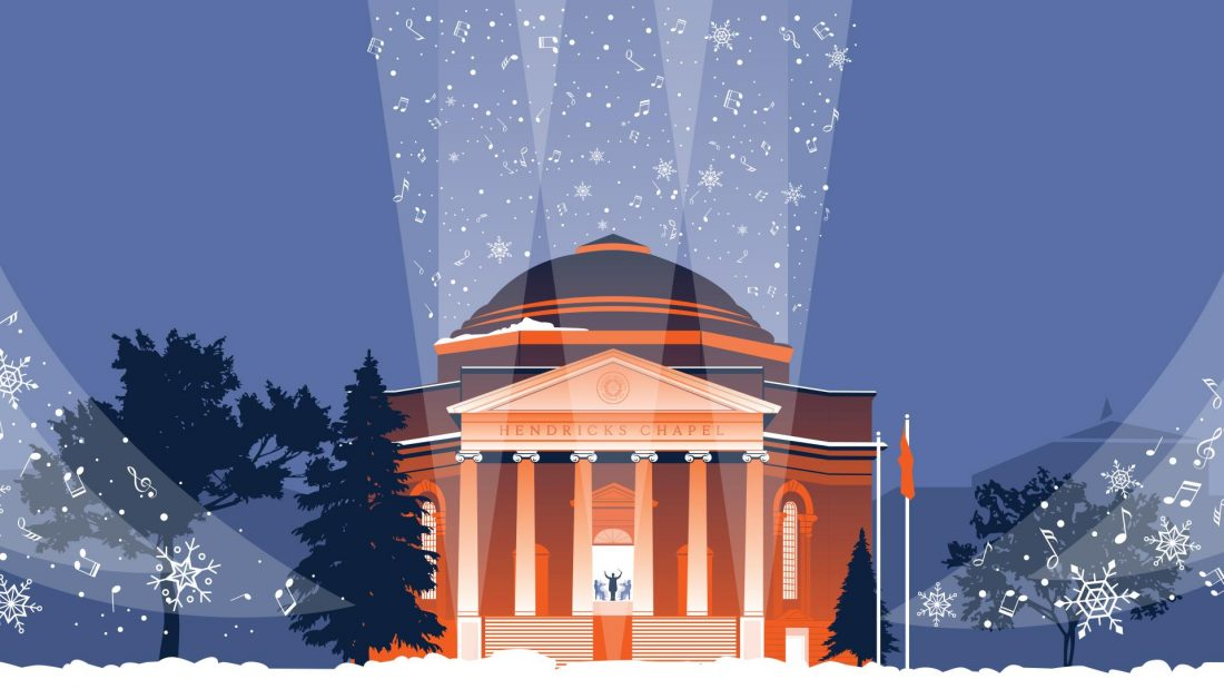 Illustration of Hendricks Chapel in blue and orange with music notes blowing around like snowflakes