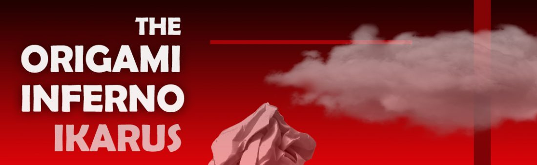 title of display set against bright red background and paper origami sculpture at bottom with cloud above it