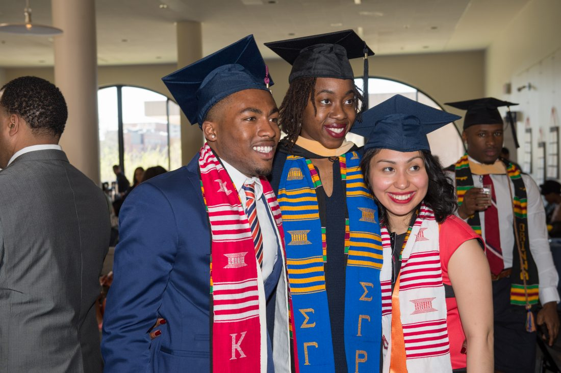 Three students at the multicultural graduation reception.