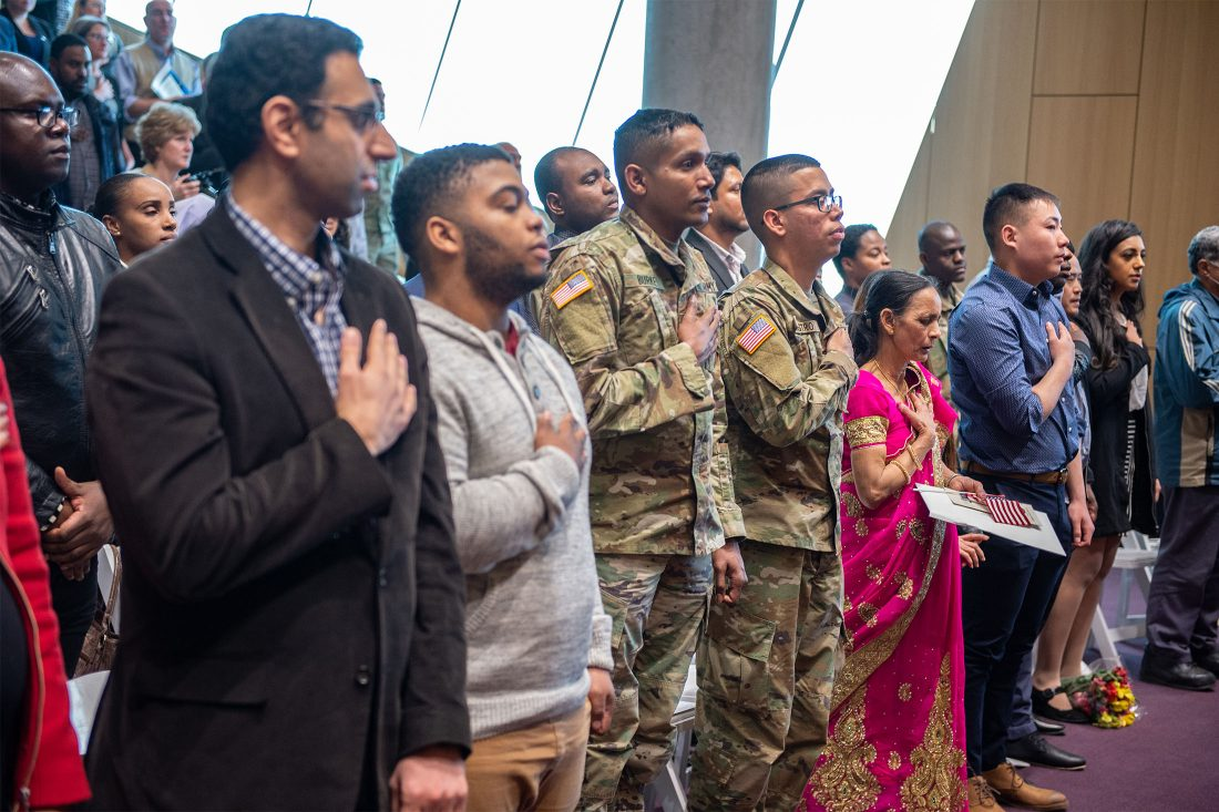New US citizens taking their oath of allegiance