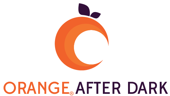 The Orange After Dark Logo— a crescent moon shaped orange above the text