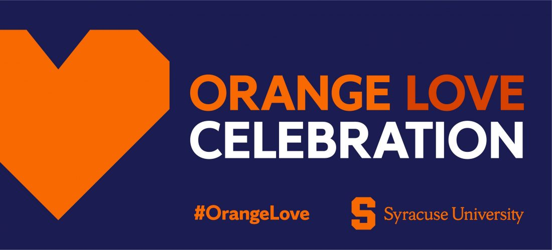 Text: Orange Love Celebration with Orange heart