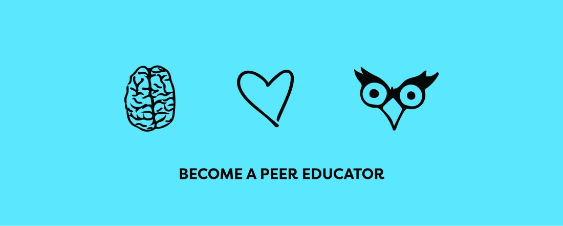 brain heart and owl icon with become a peer educator