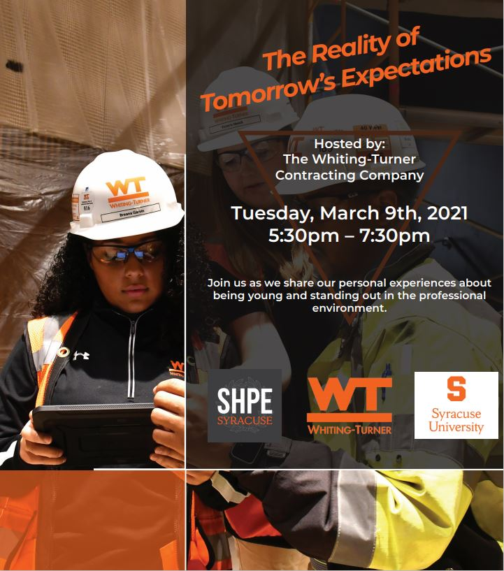 An invitation to join the event, a panel interview of women in construction at Whiting-Turner