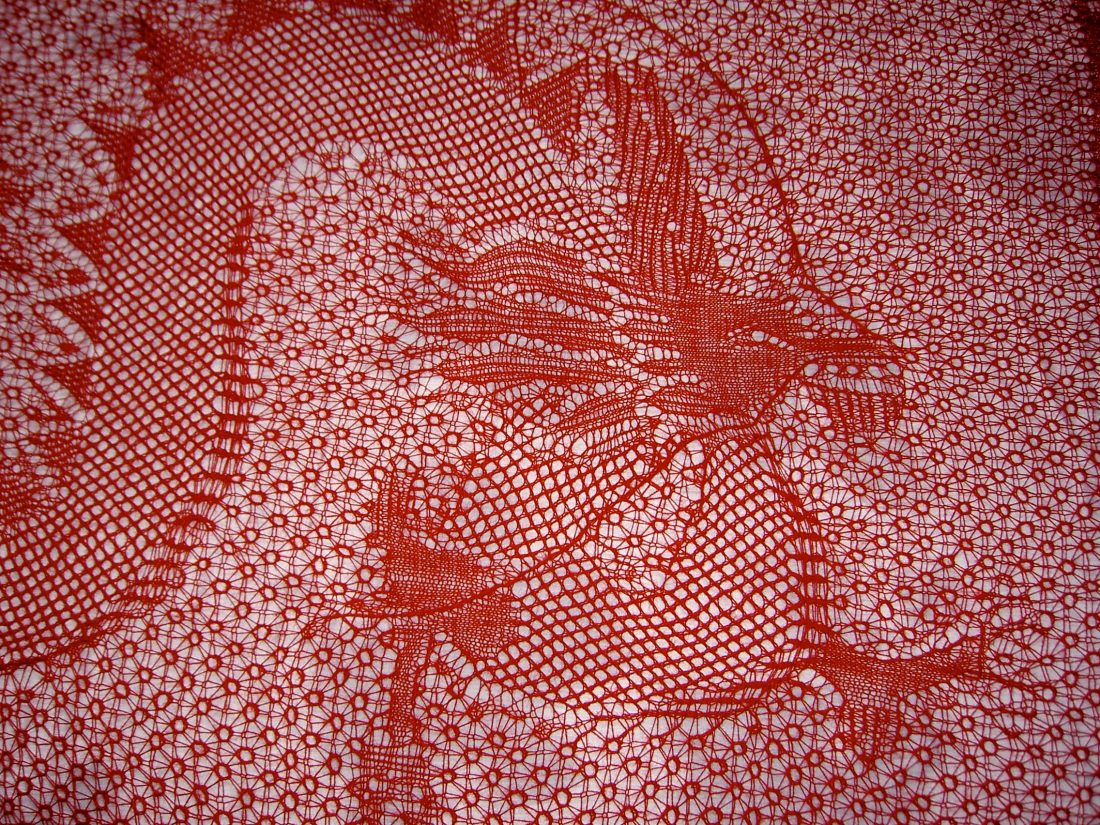 Red knitted fabric