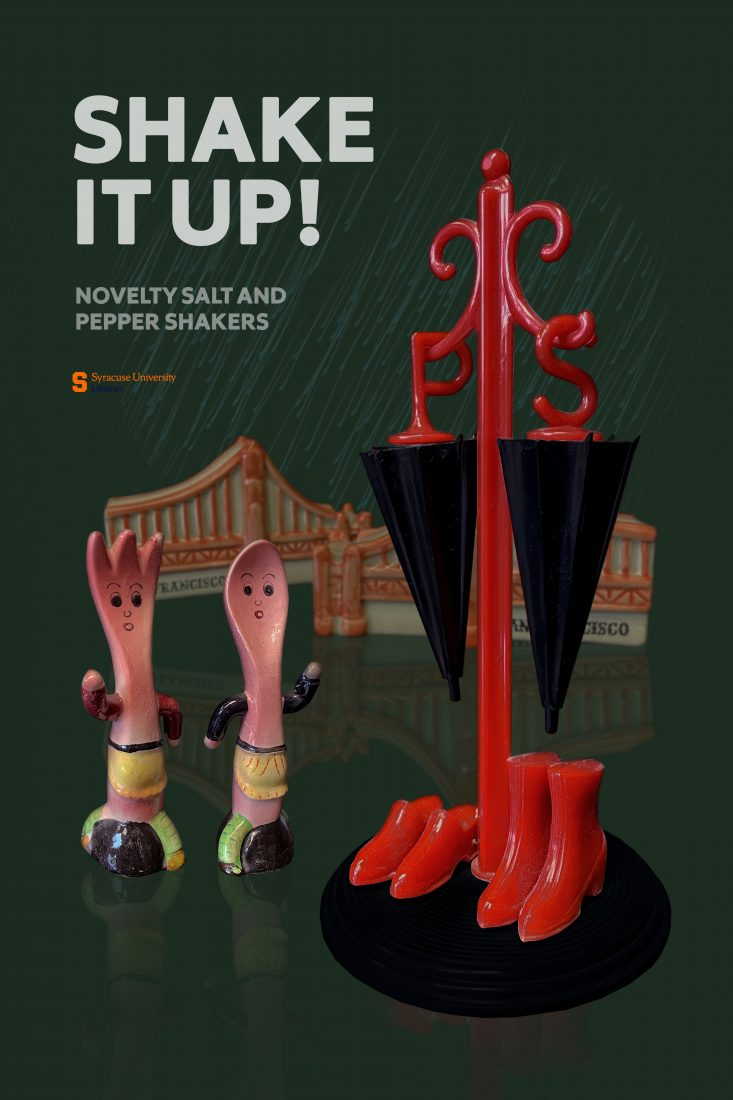 fork and spoon salt and pepper shaker, umbrella and galoshes salt and pepper shaker