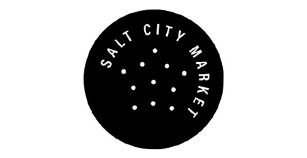 Circular, black logo containing Salt City Market in white text