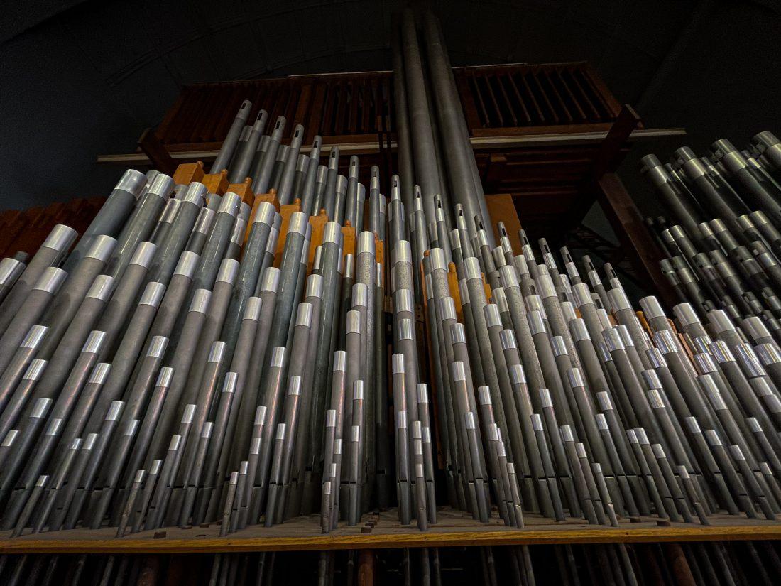 The organ in Setnor Auditorium in Crouse College.