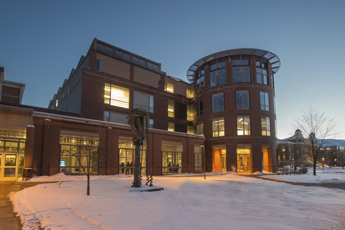 Shaffer Art Building in the winter.