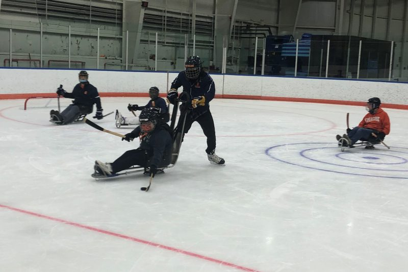 A hockey player in an adaptive sled controls the puck.