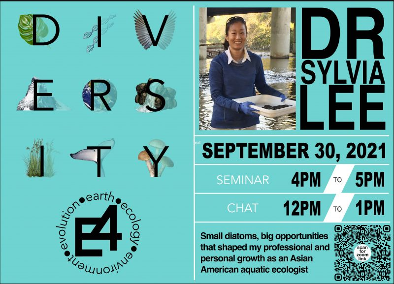 A poster set on a turquois background with the word DIVERSITY in Evolution, Earth, Ecology, and Environment overlaid with various nature illustrations. On the right side of the poster, a color photo of Dr. Sylvia Lee smiling toward the camera.