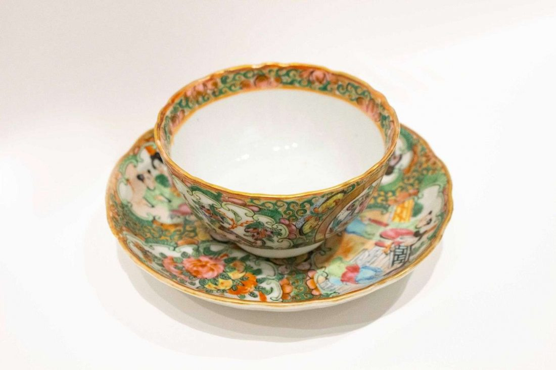 Chinese, Rose Medallion Cup and Saucer, 19th century, porcelain, Everson Museum of Art; Gift of Mary and Paul Brandwein, 1997.6.111
