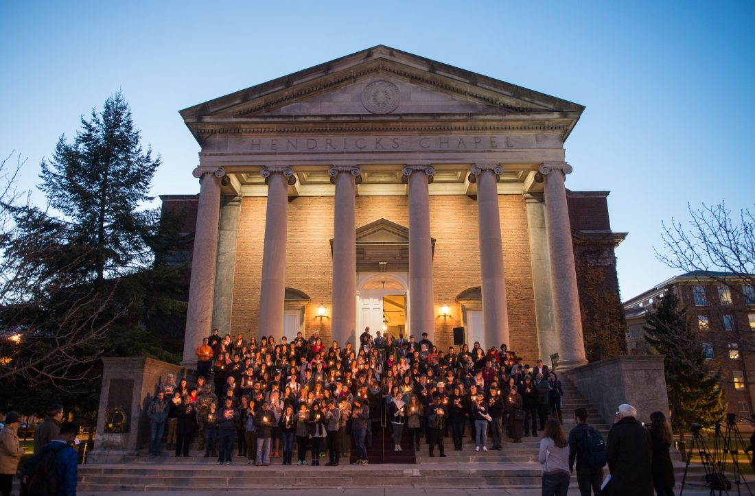 Candlelight vigil in front of Hendricks Chapel
