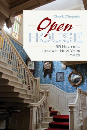 staircase in home with headline Open House 35 Historic Upstate New York Homes